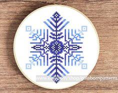 PDF counted cross stitch pattern - Snowflake - Winter - Modern cross stitch
