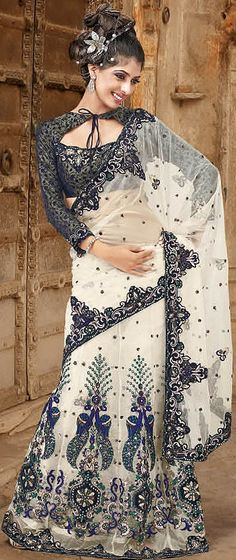 Ivory and Black Peacock Sari with Patchwork and Sequins