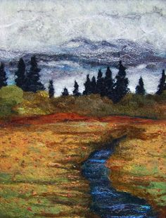 Deebs Fiber Arts Autumn Day Too 11 x needlefelted wool on felt - could be used as an extra texture. Landscape Artwork, Landscape Quilts, Wet Felting, Needle Felting, Felt Pictures, Fabric Pictures, Textile Fiber Art, Thread Painting, Colors