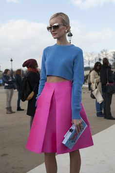 A bright skirt and crop top  - Paris Fashion Week #StreetStyle Fall 2014.
