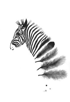 Zebra Art Print A3, Black and White Art, Wall Art Home Decor, Feather Art Poster, Animal  Modern Zebra Feather Watercolor