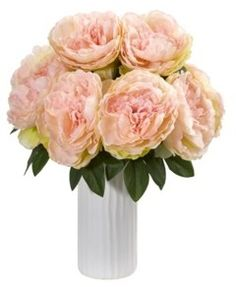 Nearly Natural Peony Artificial Arrangement in White Vase