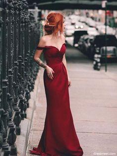 Charming Mermaid Off the Shoulder Burgundy Long Prom Dresses, Elegant Formal Evening Dresses,Formal Dresses