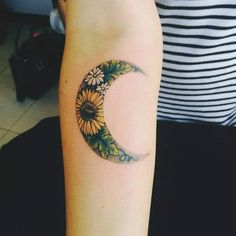 Think of a crescent moon and sunflower coming together to create some spectacular tattoo ideas for women. The thought behind this design is to create a sunflower design within the crescent moon layout. You can see that the design comprises of several colors. #tattoofriday #tattoos #tattooart #tattoodesign #tattooidea