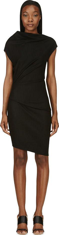 Helmut Lang - Black Wool Jersey Sonar Dress
