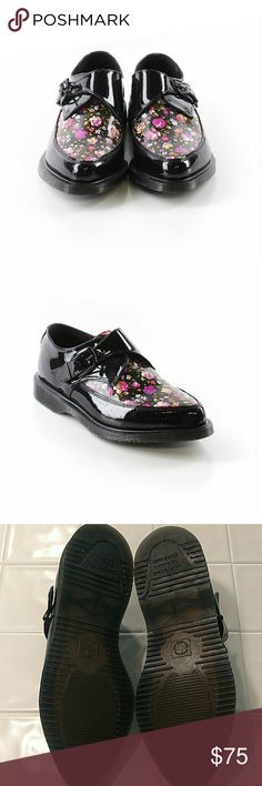 Doc Martens Black Floral Rousdens Excellent, like new condition. US women's 9, UK 7, EU 41. All pictures are of the actual item that you will receive. Smoke-free home. Dr. Martens Shoes Combat & Moto Boots