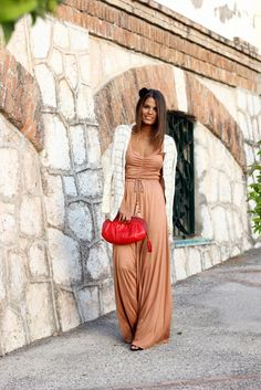 red purse peach pants top white cardigan summer stunning clothing outfit apparel fashion women style