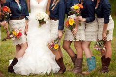 These dresses & denim jackets are adorable! And Bridesmaids bouquet (Wrap with leather or denim wrap with a single leather strap to match groomsmen attire) - Wedding And Dressing Denim Wedding, Rustic Wedding, Trendy Wedding, Blue Jean Wedding, Camo Wedding, Wedding Attire, Wedding Day, Wedding Stuff, Malay Wedding