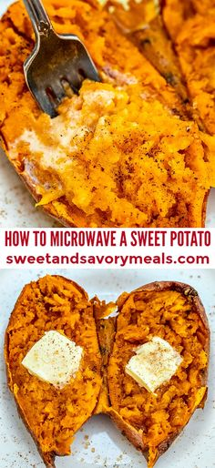 How to Microwave a Sweet Potato [Video] – Sweet and Savory Meals Learn How to Microwave a Sweet Potato in 10 minutes, this is perfect for a quick snack or side dish! Perfectly cooked and healthy! Potatoes In Microwave, Cooking Sweet Potatoes, Mashed Sweet Potatoes, Sweet Potato In Microwave, Quick Sweet Potato Recipe, Sweet Potato Toppings, How To Cook Sweet Potato, Micro Onde, Quick Snacks