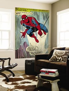 Spidey wall art...I'd love to decorate like this.