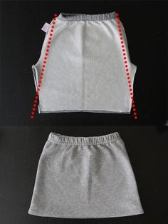 how to refashion sweatpants into a cute kangaroo pocket skirt - easy sewing tutorial by siham.djelloul