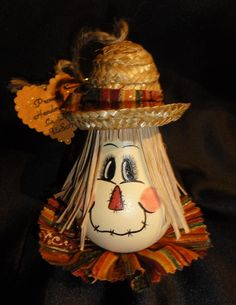 Items similar to Hand Painted Light bulb Scarecrow on Etsy