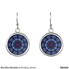 Blue Boho Mandala Earrings Christmas Card Holders, Colorful Backgrounds, Crochet Earrings, Mandala, Perfume, Drop Earrings, Boho, Unique, Silver