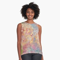 'Springtime Blossom Pink & Blue Spray Paint Blotch Design' Sleeveless Top by - Trend Front Design 2019 Blue Spray Paint, Vintage T-shirts, Blue Springs, Teal And Pink, Beach Print, Beach Photography, Aerial Photography, Chiffon Tops, Elegant