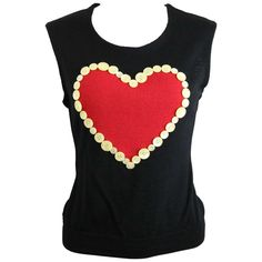 Moschino Cheap and Chic Black Wool Red Heart Tank Top 1