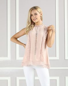 #AdoreWe #VIPme Blouses & Shirts❤️Designer Suzanne Betro Pink Lace-Accent Mock Neck Top - Plus Too - AdoreWe.com