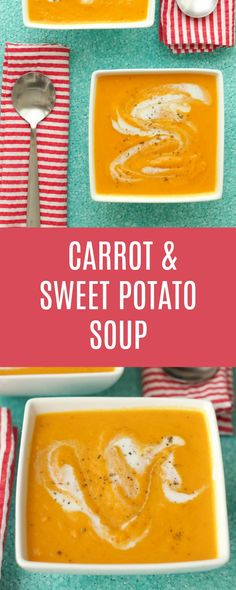 Thick, creamy and smooth carrot and sweet potato soup. This mildly spicy and richly flavored soup is vegan and gluten-free. Vegan | Vegan Soup | Vegan Appetizer | lovingitvegan.com