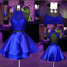 Halter Lace Crop Top Satin Homecoming Dresses Short Prom Dress Two Piece,Royal Blue Two Piece Lace Short Prom Gown,Short Lace Homecoming Gown Two Piece Homecoming Dress, Prom Dresses Two Piece, Hoco Dresses, Modest Dresses, Cheap Dresses, Homecoming Dresses, Cute Dresses, Evening Dresses, Girls Dresses