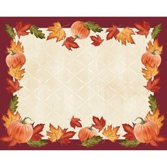 Pumpkins and Leaves Paper Placemats. One case of 144 paper placemats. 12 placemats per package, 12 packages per case for a total of Halloween Party Decor, Fall Halloween, Halloween Crafts, White Placemats, Fall Placemats, Pumpkin Leaves, Leaf Border, Borders For Paper, Thanksgiving Decorations