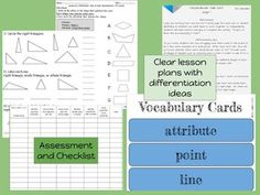 Geometry Attributes 4th Grade Common Core Unit- all the hands-on activities, lessons, assessments, printables, differentiation ideas, vocab cards, and slides you need- clearly planned out! CCSS 4.G. 1 and 2.$