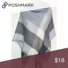 Tartan Plaid Pashmina Super soft pashmina in shades of light gray, charcoal, and cream with fringe. This scarf is both comfy and chic. 100% acrylic. jules + kate Accessories Scarves & Wraps