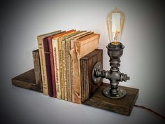 Bookends, Book holders, Cool bookends, Book stopper, Unique bookends, Decorative bookend, Wooden bookend, Bookends lamp, Steampunk furniture