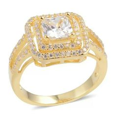 14kt YG ENGAGEMENT SET -925-STERLING SILVER GENUINE WHITE CUBIC ZIRCONIA RING SET IN 14KT YG OVER PURE 925-STERLING SILVER TGW-2.940 Jewelry Rings