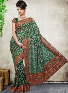 Glamorous Jade Green Color Faux Georgette Based Embroidered #Saree