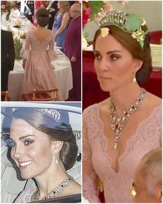 """""""The Duchess is looking stunning in new soft pink dress by Marchesa for tonight's state banquet.…"""""""