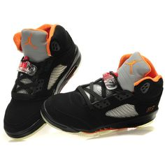 Women Air Jordan 5 Black Orange ($71) ❤ liked on Polyvore super cute with a SF Giants hoodie