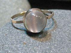 Moonstone Engagement Ring, 14k white gold