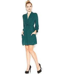 BAR III Size Large L Womens NEW Dark Green Solid Shift Dress Belted $79 #2H