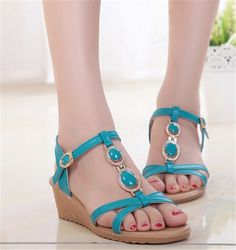 Women Sandale 2015 Summer Sandals For Women Wedge Flip Flops Sandal Peep Toe Yellow Pumps Women's Shoes Wedge Sandals Slippers