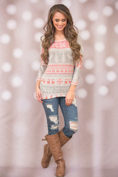 Walking In A Winter Wonderland Sweater - The Pink Lily