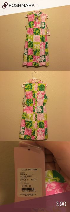 Vintage Lilly Pulitzer Patchwork Dress Great Condition! NWT. Nothing like a vintage Lilly dress in her signature palette pink and green Lilly Pulitzer Dresses Midi