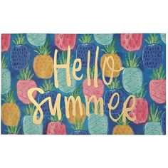 Hello Summer Pineapples Doormat ($11) ❤ liked on Polyvore featuring home, outdoors, outdoor decor, welcome mat, pineapple outdoor decor, welcome doormat, pineapple doormat and pineapple welcome mat