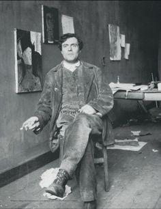 Modigliani sitting in his studio at Bateau-Lavoir, Montparnasse / 1915