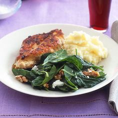Panfried Chicken with Spinach Salad is the ideal way to start the weekend | http://www.rachaelraymag.com/Recipes/rachael-ray-magazine-recipe-search/dinner-recipes/panfried-chicken-with-spinach-salad