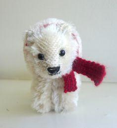 A sweet little polar bear inspired by the steiff crib toys of the 1900s.
