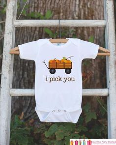 Kids Fall Pumpkin Outfit - Thanksgiving Shirt - Baby Novelty Onepiece - Fall Outfit for Baby Boy or Girl - I Pick You Thanksgiving Shirt - 7 ate 9 Apparel