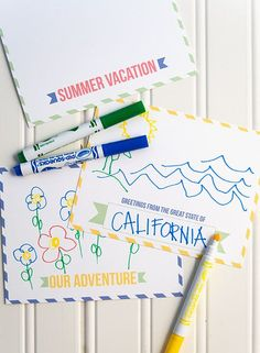 summer vacation postcards - free printable template kids can fill out and mail to friends and family
