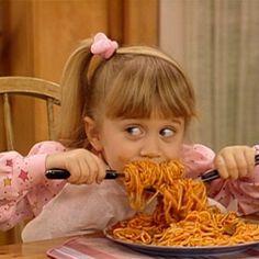 Michelle eating spaghetti. Lol