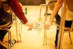 High school sweethearts, passing notes in the classroom where we first met! Save the Date!