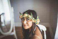 California Bride with Floral Wreath
