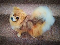 FELTED DOG POMERANIAN OOAK HAND MADE ART TOYS by FairytaleWORLDofART on Etsy Felt Roses, Felt Art, Felt Animals, Pomeranian, Art World, Needle Felting, Fairy Tales, Fantasy, Etsy