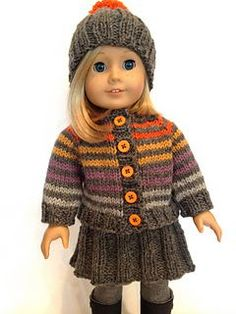 American Girl Dolls : Huckleberry Friend free knitting pattern for 18 dolls Knitting Dolls Clothes, Baby Doll Clothes, Crochet Doll Clothes, Doll Clothes Patterns, American Girl Outfits, American Doll Clothes, Knitted Doll Patterns, Knitted Dolls, Knit Doll Hat