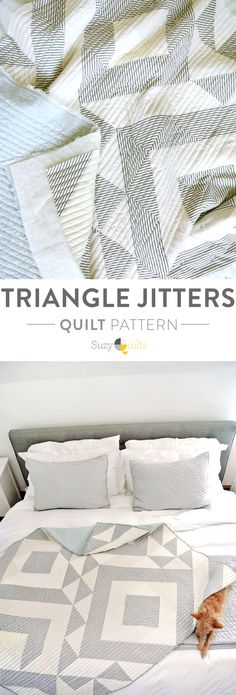 This Triangle Jitters quilt pattern is fresh, modern and easy to make. By simply changing the colors each quilt can look dramatically different. Included is a half square triangle conversion chart so you can easily size the quilt up or down.