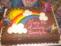 easy mlp cake: use rainbow cake from Costco and add your own ponies Unicorn Birthday Parties, 5th Birthday, Birthday Cakes, Birthday Ideas, Mlp Cake, Costco Cake, My Little Pony Cake, Cake Stuff, Rainbow Unicorn