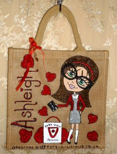www.Tote-A-Licious.co.uk hand painted personalised jute tote bag ...