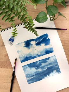 Easy watercolor skies with clouds. Easy watercolor skies with clouds. Watercolor Clouds, Watercolor Kit, Watercolor Illustration, Oil Painting Abstract, Acrylic Painting Canvas, Watercolor Paintings, Oil Paintings, Cactus Paint, Aesthetic Painting